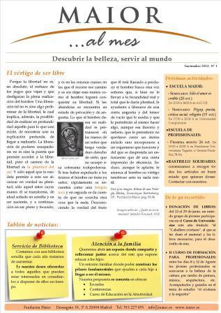 Boletín mensual de noticias y actividades de la Fundación Maior. Edición de septiembre de 2012