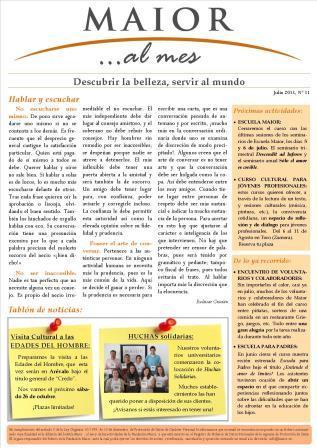 Boletín mensual de noticias y actividades de la Fundación Maior. Edición de julio 2013