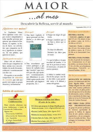 Boletín mensual de noticias y actividades de la Fundación Maior. Edición de septiembre 2013