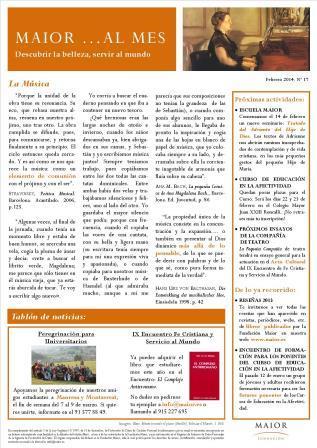 Boletín mensual de noticias y actividades de la Fundación Maior. Edición de febrero 2014