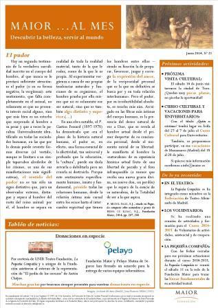 Boletín mensual de noticias y actividades de la Fundación Maior. Edición de junio 2014