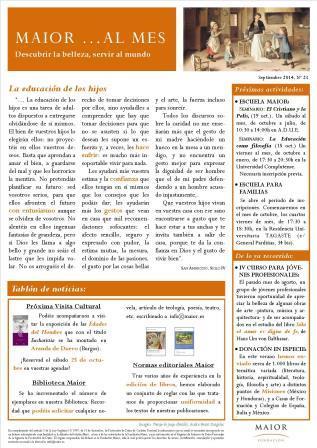 Boletín mensual de noticias y actividades de la Fundación Maior. Edición de septiembre 2014