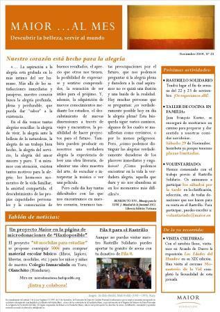 Boletín mensual de noticias y actividades de la Fundación Maior. Edición de noviembre 2014