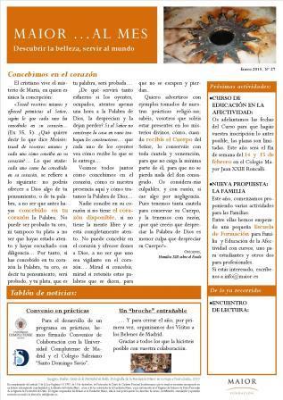 Boletín mensual de noticias y actividades de la Fundación Maior. Edición de enero 2015