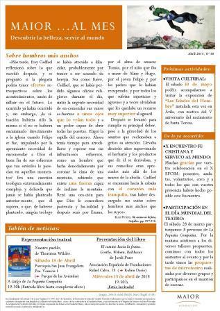 Boletín mensual de noticias y actividades de la Fundación Maior. Edición de abril 2015