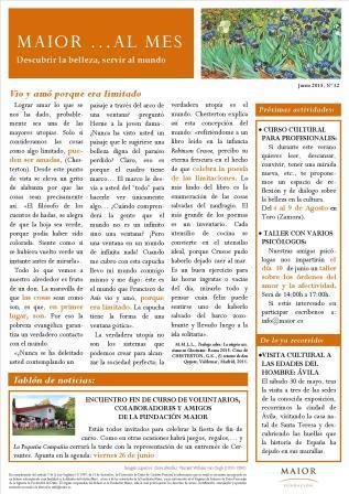 Boletín mensual de noticias y actividades de la Fundación Maior. Edición de junio 2015