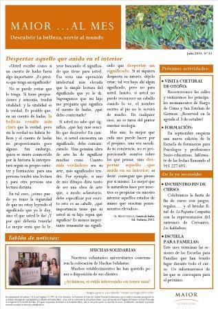 Boletín mensual de noticias y actividades de la Fundación Maior. Edición de julio 2015