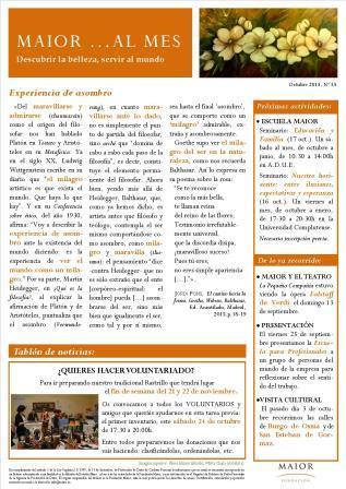 Boletín mensual de noticias y actividades de la Fundación Maior. Edición de octubre 2015