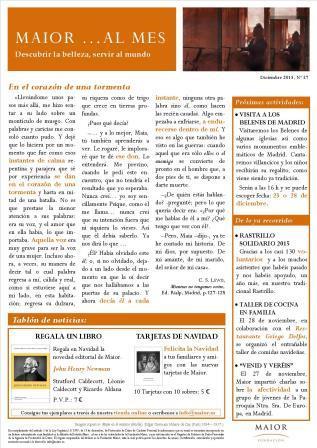 Boletín mensual de noticias y actividades de la Fundación Maior. Edición de diciembre 2015