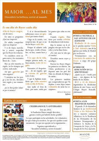 Boletín mensual de noticias y actividades de la Fundación Maior. Edición de enero 2016