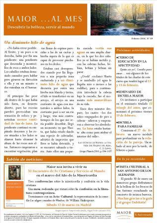 Boletín mensual de noticias y actividades de la Fundación Maior. Edición de febrero 2016