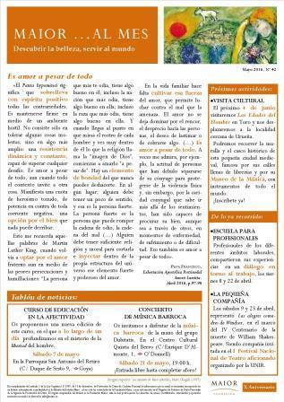 Boletín mensual de noticias y actividades de la Fundación Maior. Edición de mayo 2016