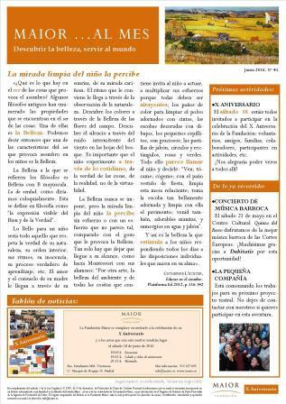 Boletín mensual de noticias y actividades de la Fundación Maior. Edición de junio 2016