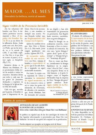 Boletín mensual de noticias y actividades de la Fundación Maior. Edición de julio 2016