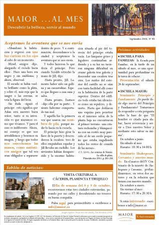 Boletín mensual de noticias y actividades de la Fundación Maior. Edición de septiembre 2016