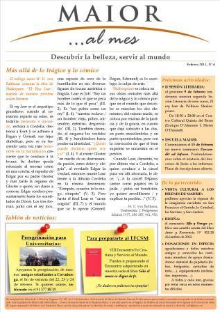 Boletín mensual de noticias y actividades de la Fundación Maior. Edición de febrero 2013