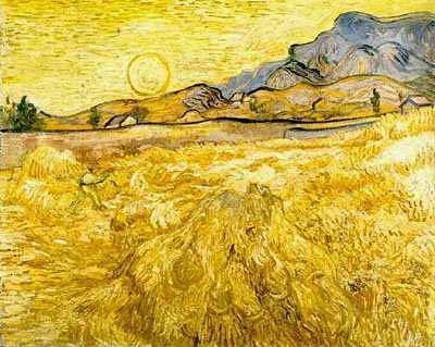 Campo de trigo con sol, de Vincent Van Gogh