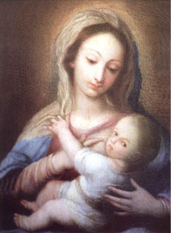 Tarjeta de Navidad Christmas religioso, imagen de la Virgen María, de la Fundación Maior