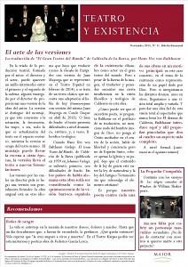 Boletín Teatro y Existencia. Noviembre 2015, Nº 11. De La Pequeña Compañía de la Fundación Maior