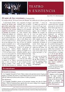 Boletín Teatro y Existencia. Enero 2016, Nº 12. De La Pequeña Compañía de la Fundación Maior