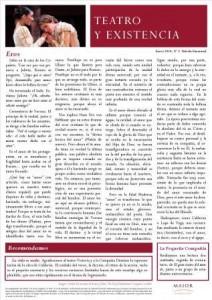 Boletín Teatro y Existencia. Enero 2014, Nº 2