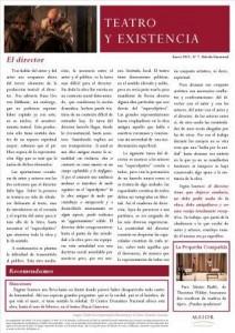 Boletín Teatro y Existencia. Enero 2015, Nº 7