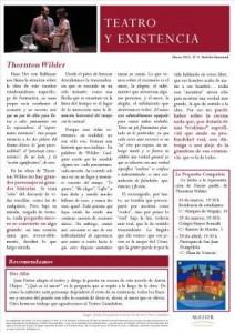 Boletín Teatro y Existencia. Marzo 2015, Nº 8