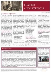 Boletín Teatro y Existencia. Noviembre 2013, Nº 1