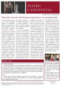 Boletín Teatro y Existencia. Septiembre 2014, Nº 5