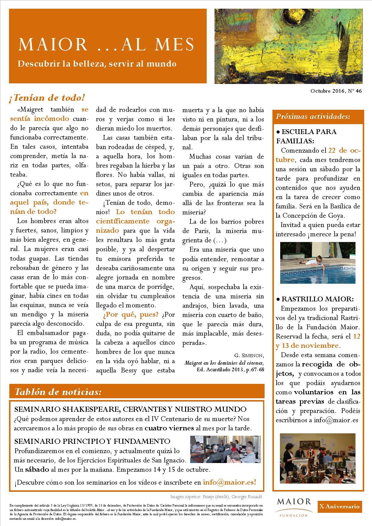 Boletín mensual de noticias y actividades de la Fundación Maior. Edición de octubre 2016