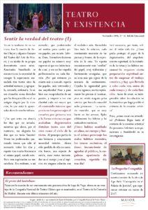 Boletín de Teatro y Existencia de La Pequeña Compañía de la Fundación Maior, con recomendaciones de la cartelera. Edición de Noviembre 2016