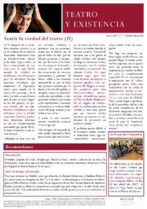 Boletín de Teatro y Existencia de La Pequeña Compañía de la Fundación Maior, con recomendaciones de la cartelera. Edición de Enero 2017