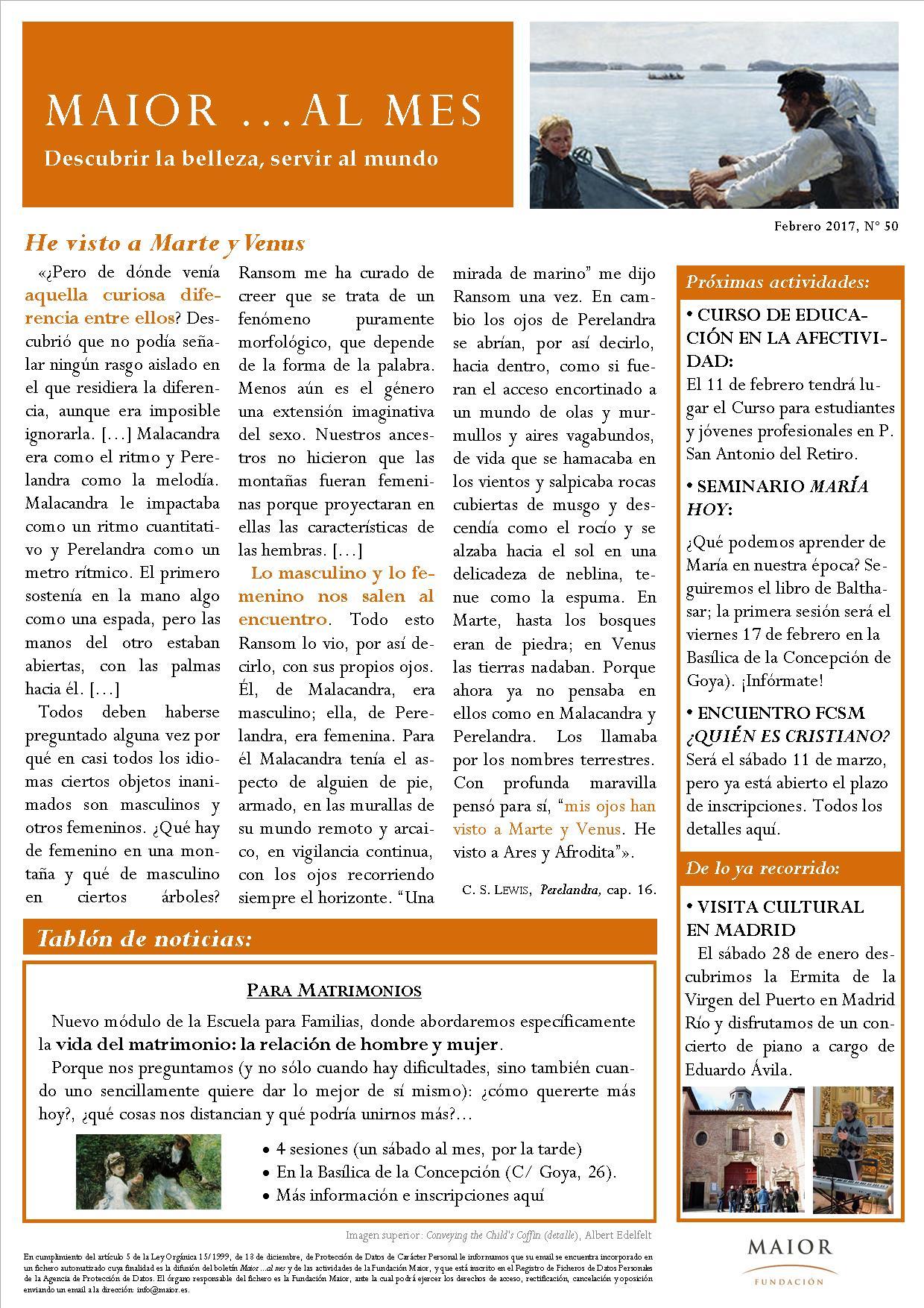 Boletín mensual de noticias y actividades de la Fundación Maior. Edición de febrero 2017