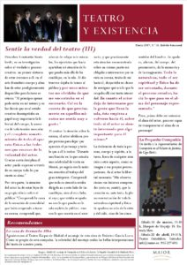 Boletín de Teatro y Existencia de La Pequeña Compañía de la Fundación Maior, con recomendaciones de la cartelera. Edición de Marzo 2017