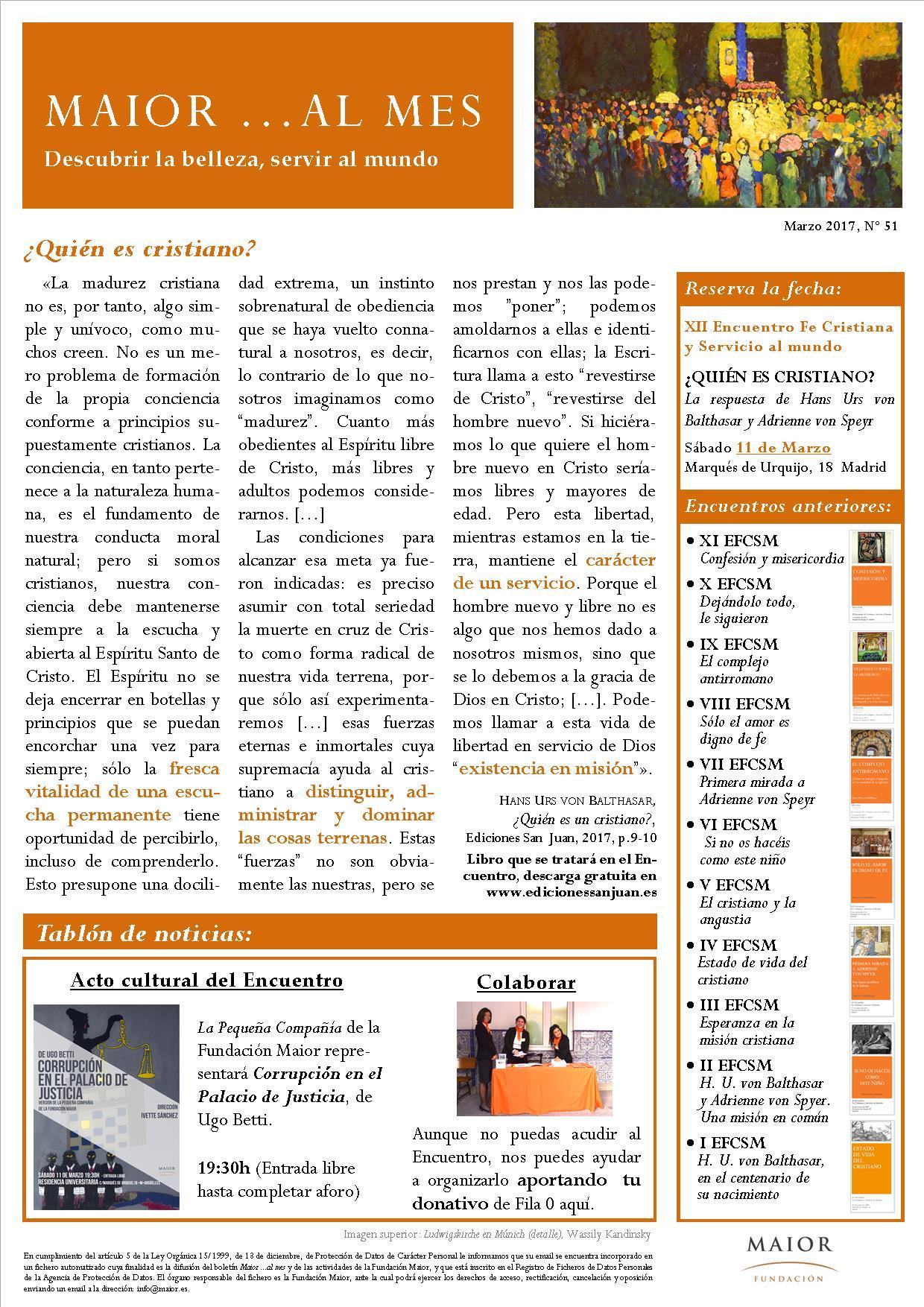 Boletín mensual de noticias y actividades de la Fundación Maior. Edición de marzo 2017