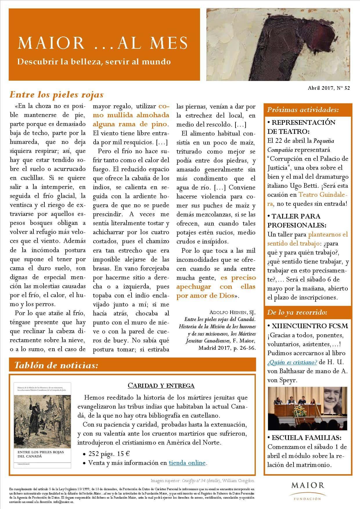 Boletín mensual de noticias y actividades de la Fundación Maior. Edición de abril 2017
