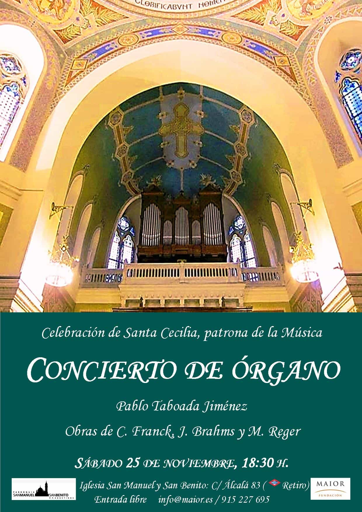 Cartel Concierto de Órgano Pablo Taboada Fundación Maior