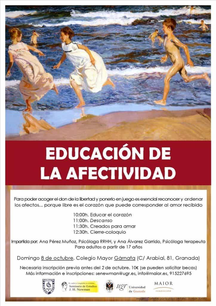 Cartel de las Charlas de afectividad para jóvenes y adultos Granada