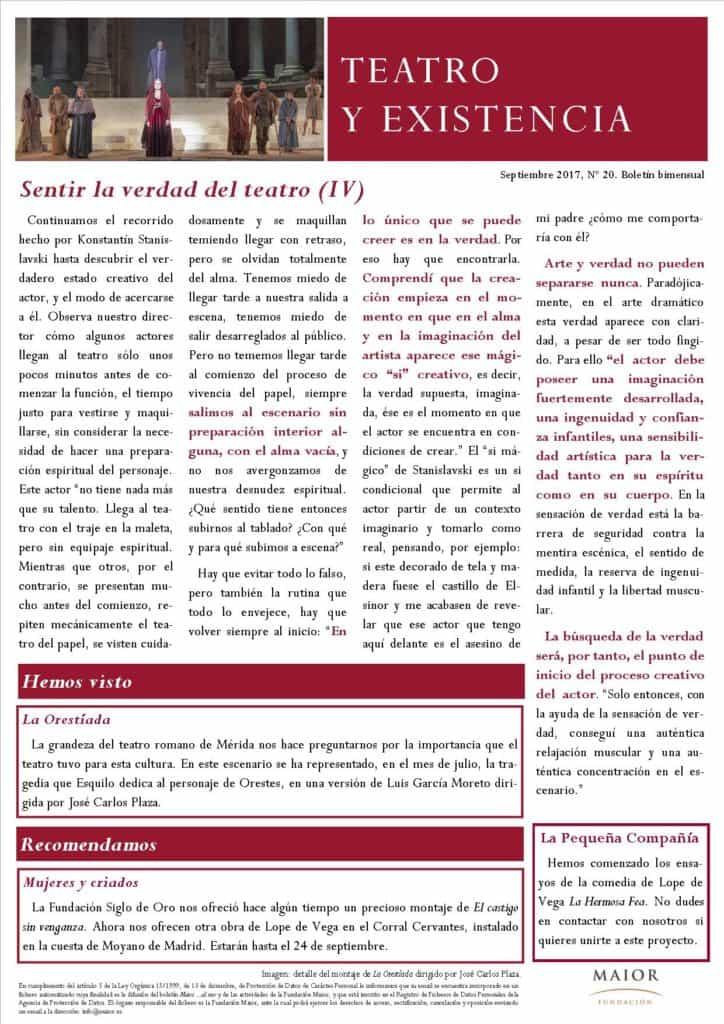 Boletín de Teatro y Existencia de La Pequeña Compañía de la Fundación Maior, con recomendaciones de la cartelera. Edición de Septiembre 2017