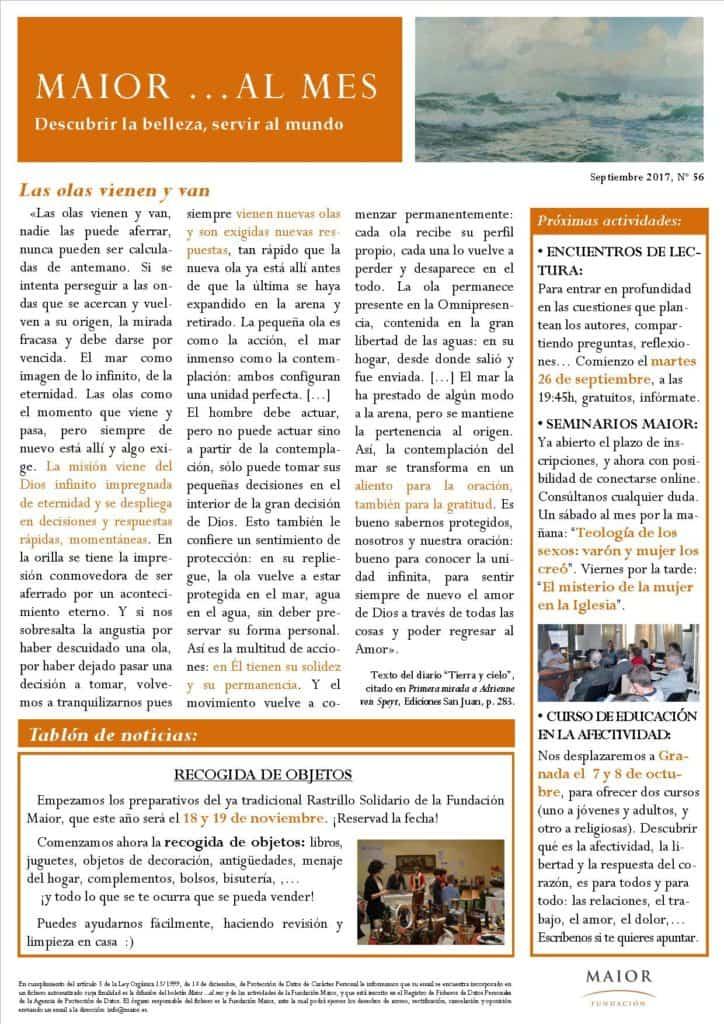 Boletín mensual de noticias y actividades de la Fundación Maior. Edición de septiembre 2017