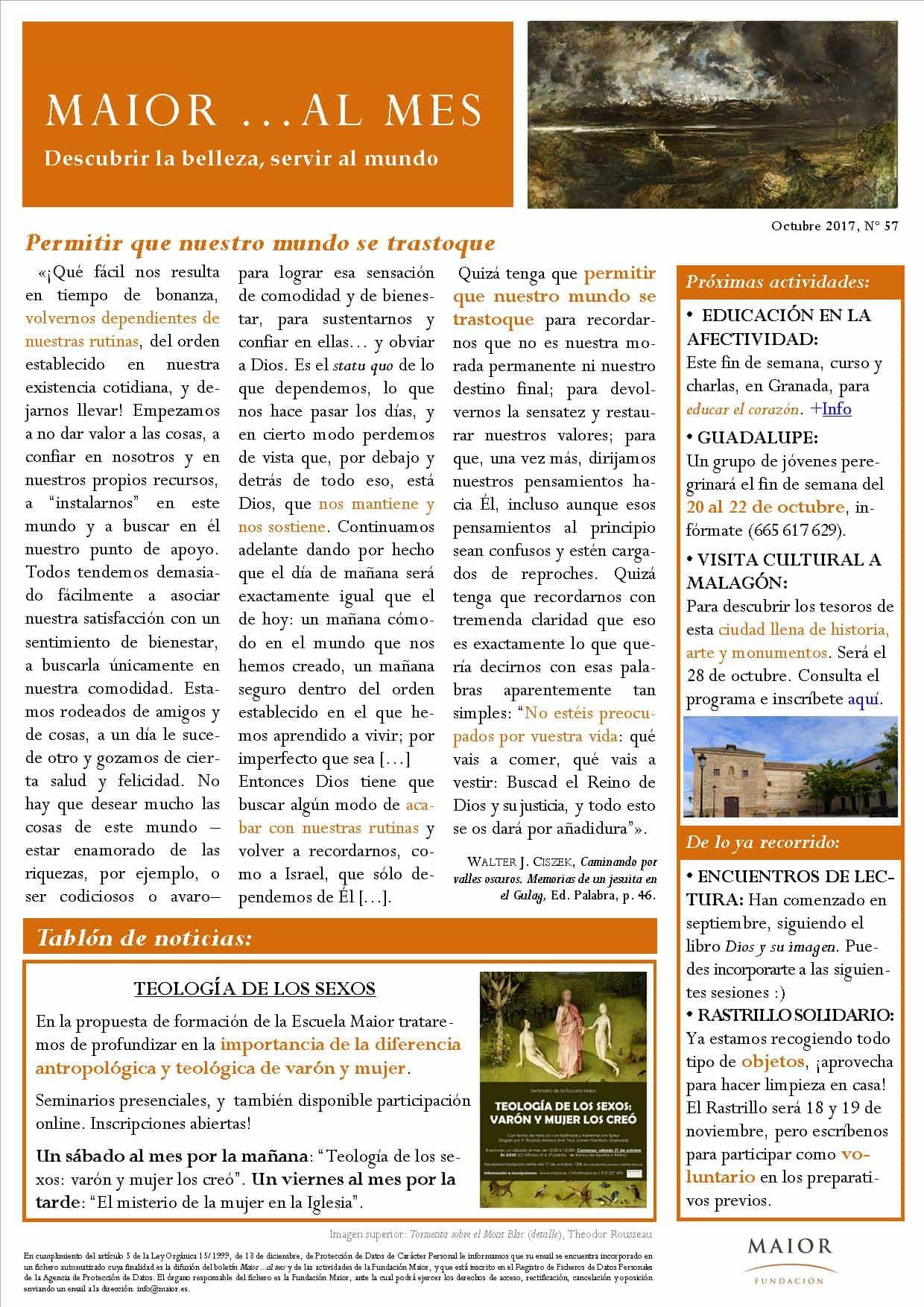 Boletín mensual de noticias y actividades de la Fundación Maior. Edición de octubre 2017