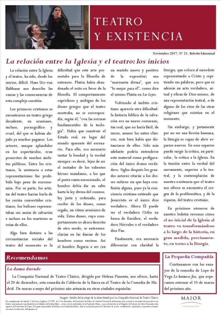 Boletín de Teatro y Existencia de La Pequeña Compañía de la Fundación Maior, con recomendaciones de la cartelera. Edición de Noviembre 2017