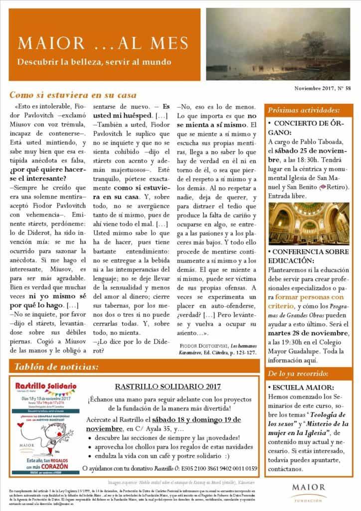 Boletín mensual de noticias y actividades de la Fundación Maior. Edición de noviembre 2017