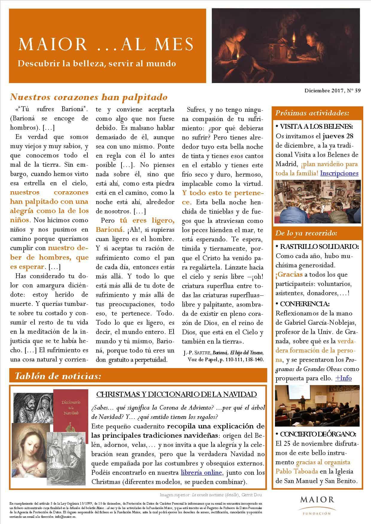Boletín mensual de noticias y actividades de la Fundación Maior. Edición de diciembre 2017
