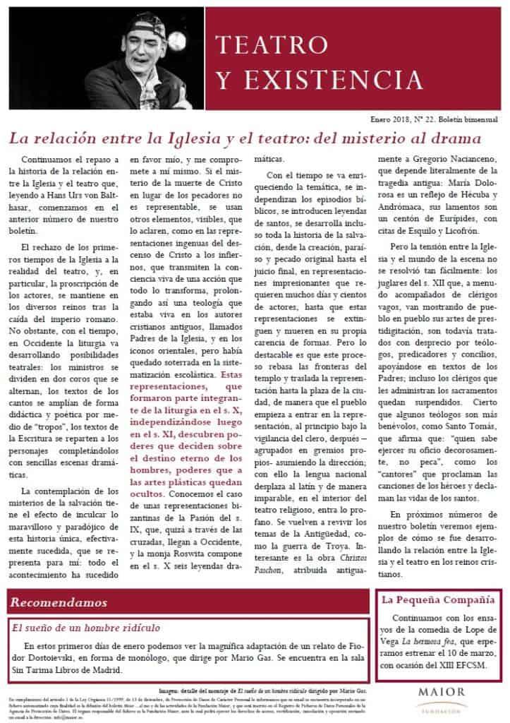 Boletín de Teatro y Existencia de La Pequeña Compañía de la Fundación Maior, con recomendaciones de la cartelera. Edición de Enero 2018