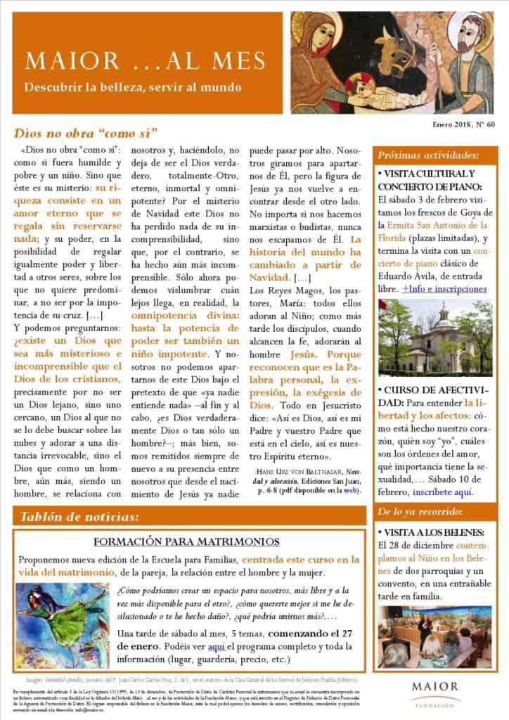 Boletín mensual de noticias y actividades de la Fundación Maior. Edición de enero 2018