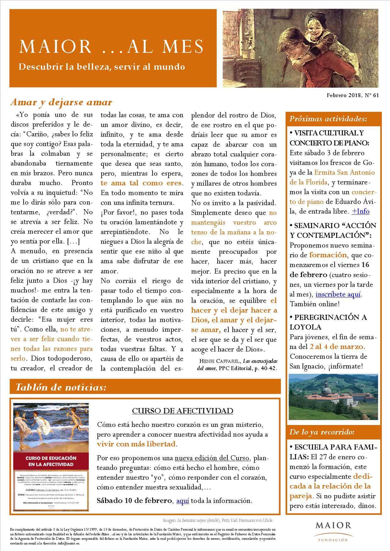 Boletín mensual de noticias y actividades de la Fundación Maior. Edición de febrero 2018