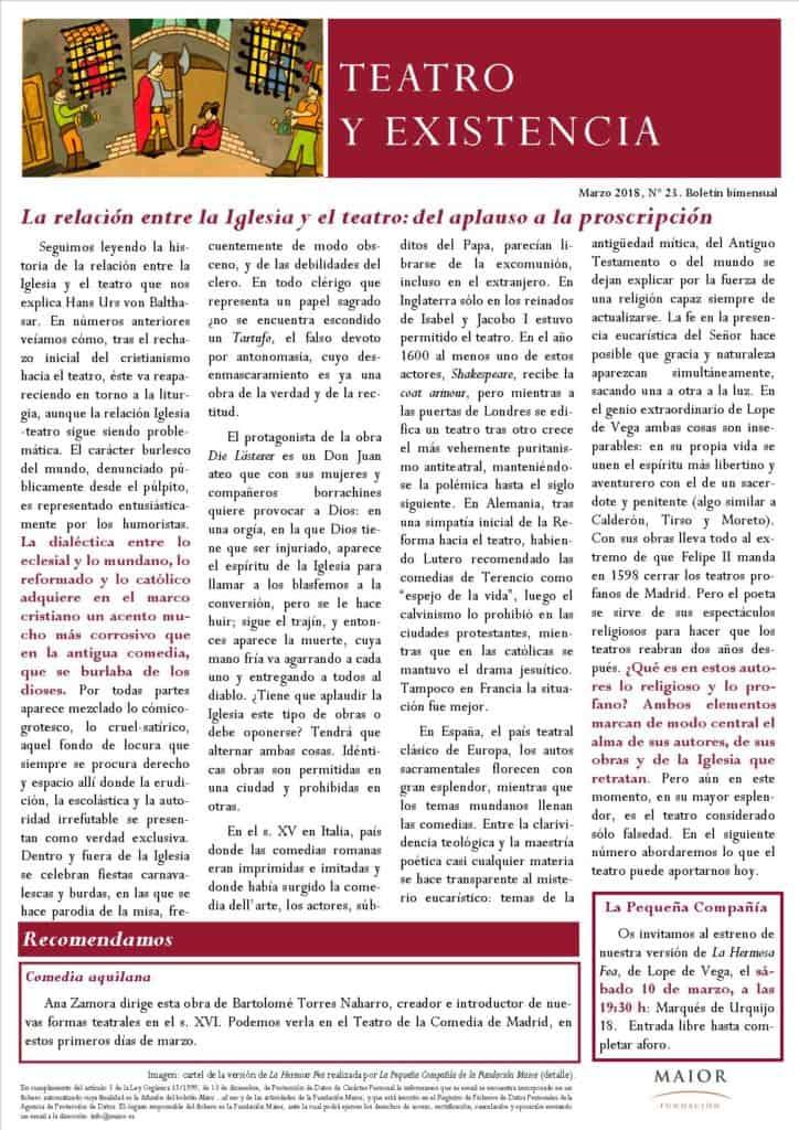 Boletín de Teatro y Existencia de La Pequeña Compañía de la Fundación Maior, con recomendaciones de la cartelera. Edición de Marzo 2018