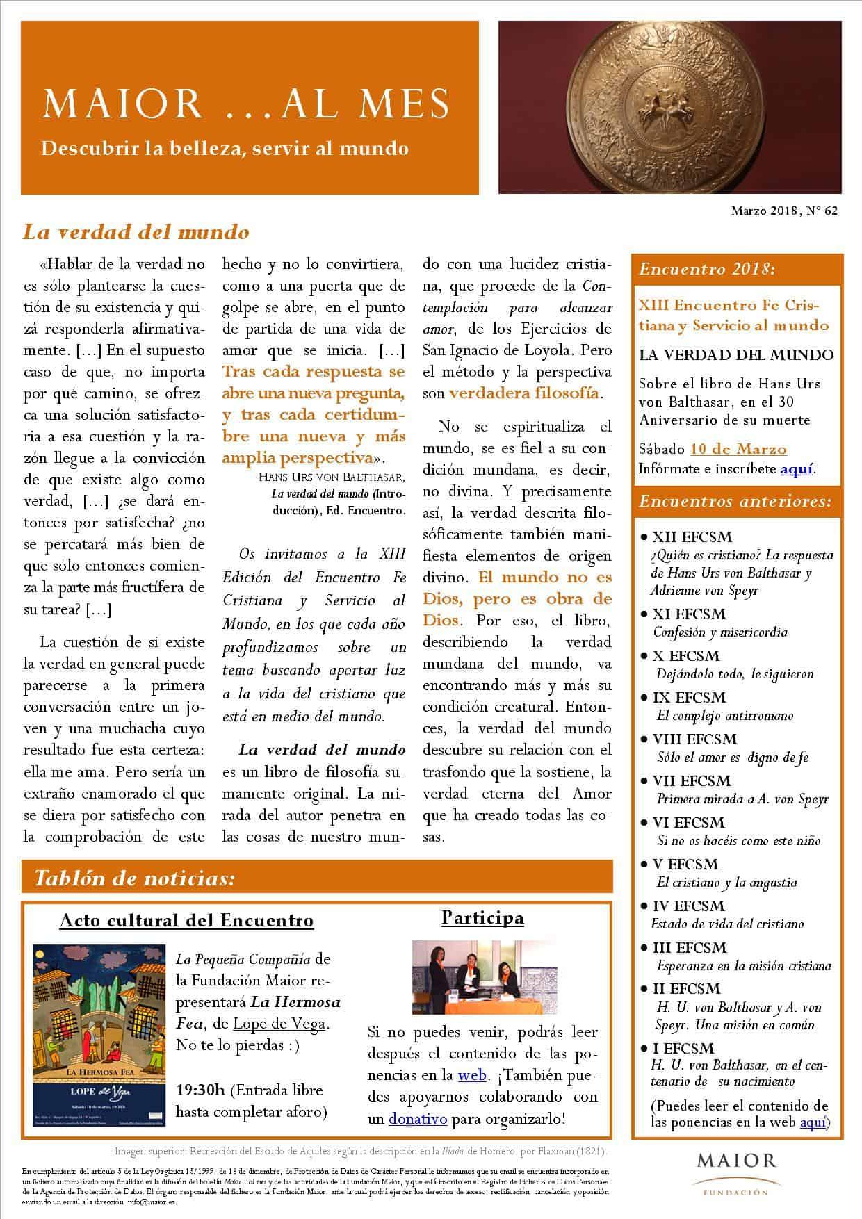 Boletín mensual de noticias y actividades de la Fundación Maior. Edición de marzo 2018