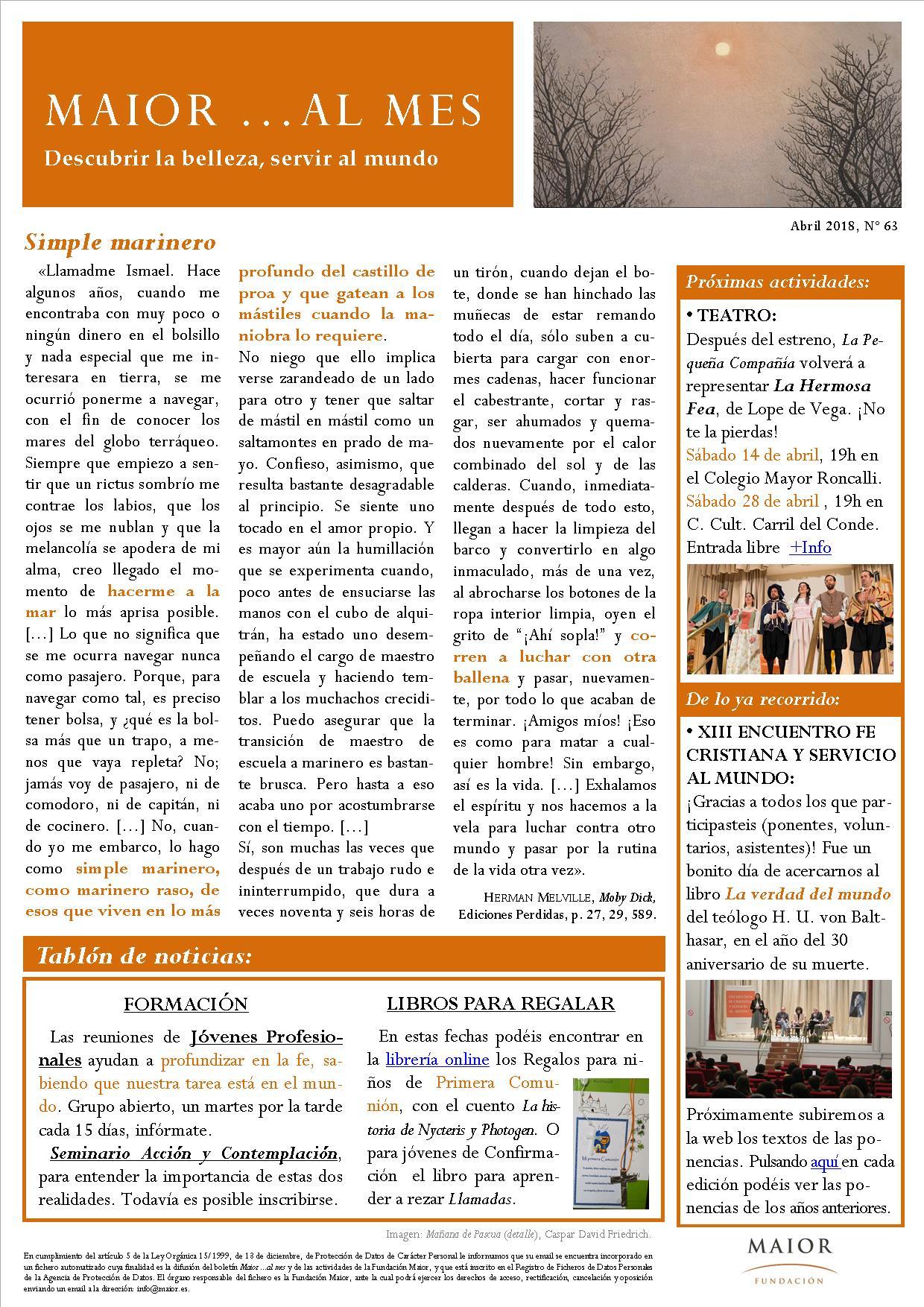 Boletín mensual de noticias y actividades de la Fundación Maior. Edición de abril 2018